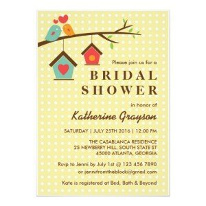 Birdhouse and Love Birds Polka Dots Invitation