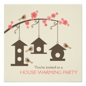 spring birdhouse neighborhood personalized invites