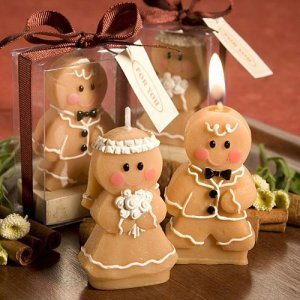 Adorable Bride and Groom Gingerbread Man and Woman Candles