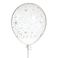 Clear with White Stars Around Balloons