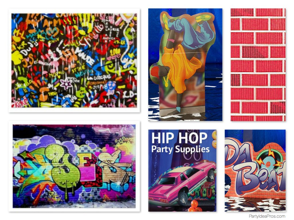 Graffiti Theme Party Decorations Props Hip Hop
