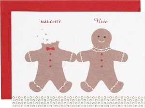 Naughty Nice Gingerbread Men Holiday Cards
