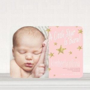 STAR IS BORN GIRL PHOTO BIRTH ANNOUNCEMENTS