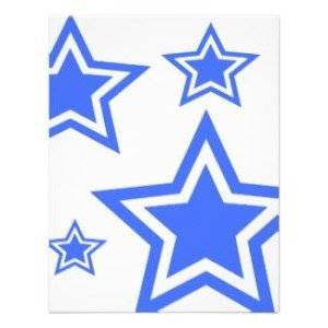blue and white stars paper invitation