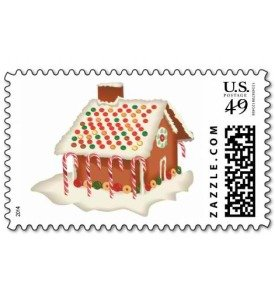 christmas gingerbread house postage