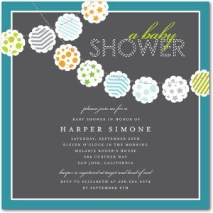 colorful clouds baby shower invitations