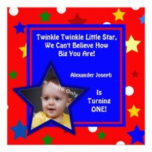 stars primary colors children's photo birthday invitation
