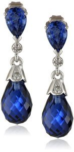 10k White Gold Created Gemstone and Diamond Earrings