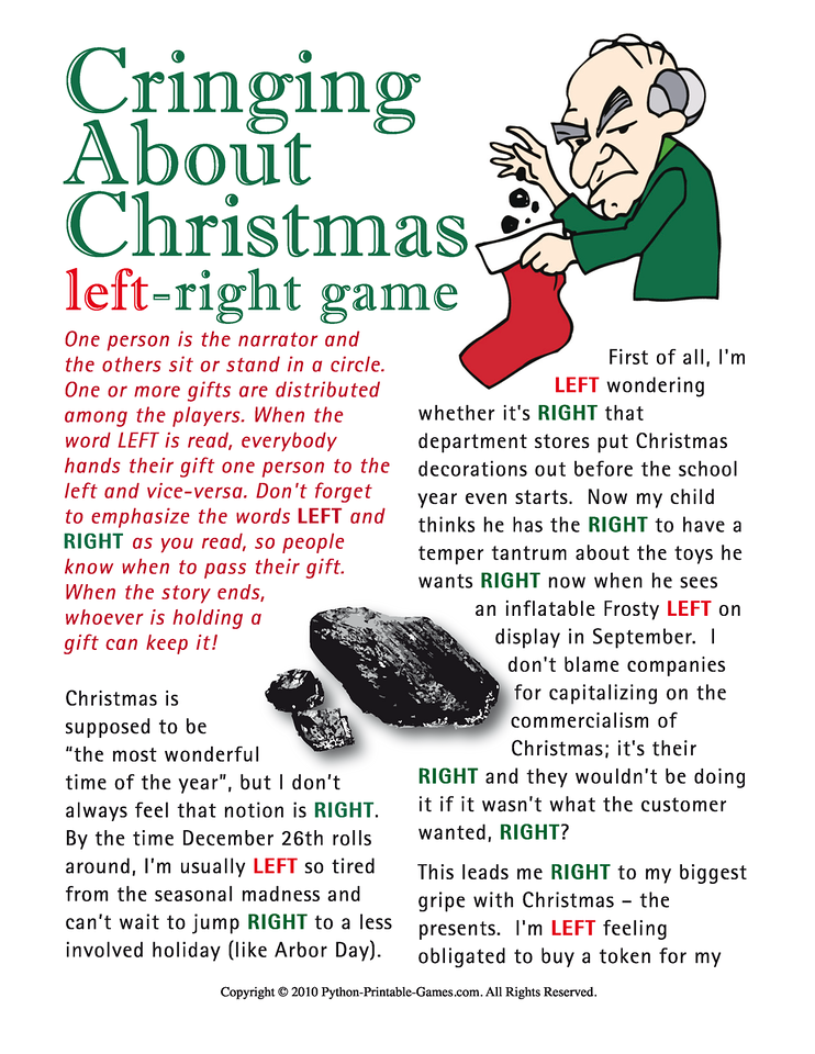 Anti-Christmas Game- Left-Right Gift Exchange Printable Game