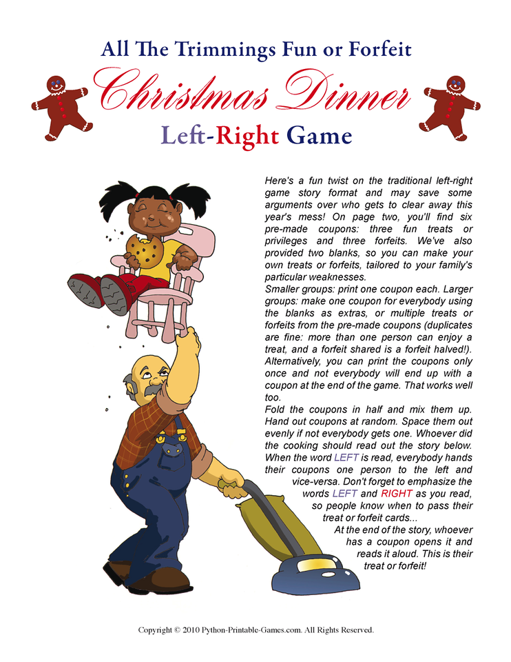 Christmas Dinner Left-Right Printable Game!