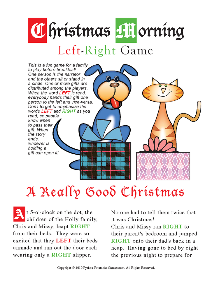 Christmas Morning Left-Right Printable Game