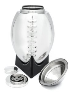 Football Cocktail Shaker with 'Kickoff Tee' Styled Stand - 24oz Premium Stainless Steel