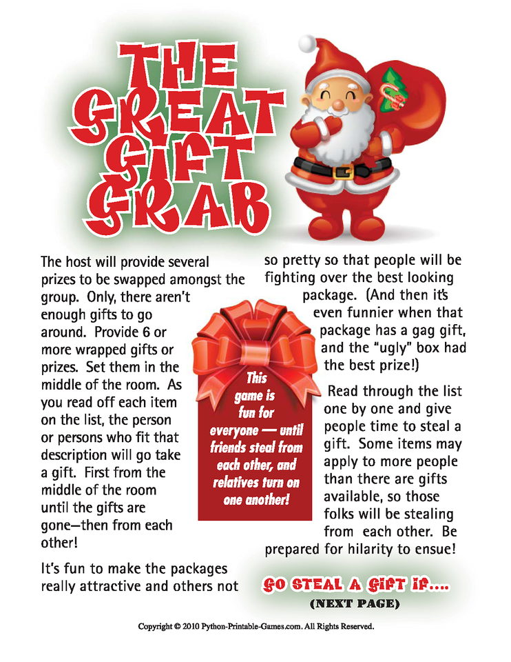 Gift Grab Christmas Gift Exchange Printable Game