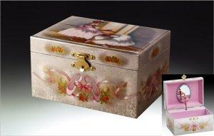 Siver White Ballerina Musical Jewelry Box