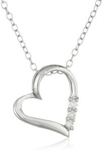 Sterling Silver Three-Stone Diamond Heart Pendant Necklace