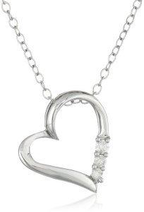 Sterling Silver Three-Stone Diamond Heart Pendant Necklace
