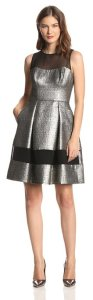 Vince Camuto Women's Sleeveless Illusion Metallic Fit-and-Flare Dress