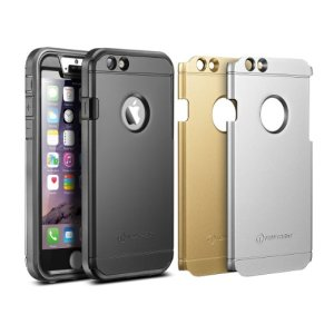 """iPhone 6 Plus Case, New Trent Trentium 6L 5.5"""" [Ultra-thin] [Heavy Duty] Full Body Rugged [Water resistant/Dirt/Shockproof] Case for Apple iPhone 6 Plus with 5.5"""" screen [with Built-In Screen Protector ] [Black/Silver/Gold interchangeable back plate included]"""