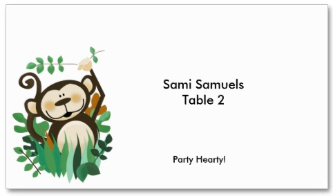 Cute Monkey Jungle Place Card