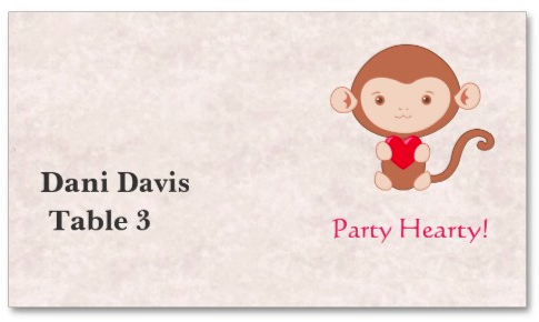 Monkey with Heart Place Card