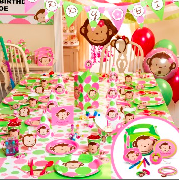 Pink Mod Monkey Party Supplies