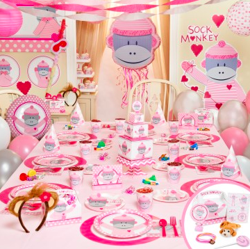 Pink Sock Monkey Party Supplies