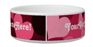 Valentine's Day Gifts for the Special Dog in Your Life, Lots of Pink Hearts Dog Bowl