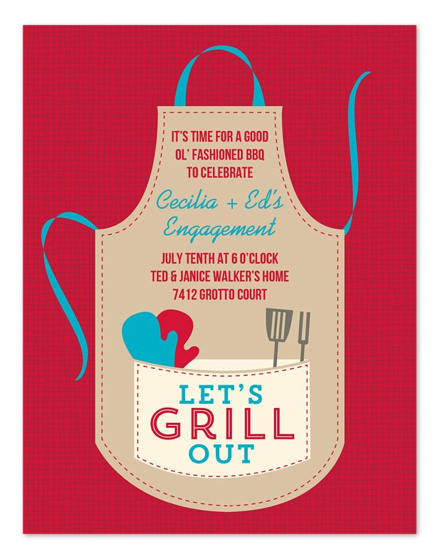 GRILL OUT apron invitation