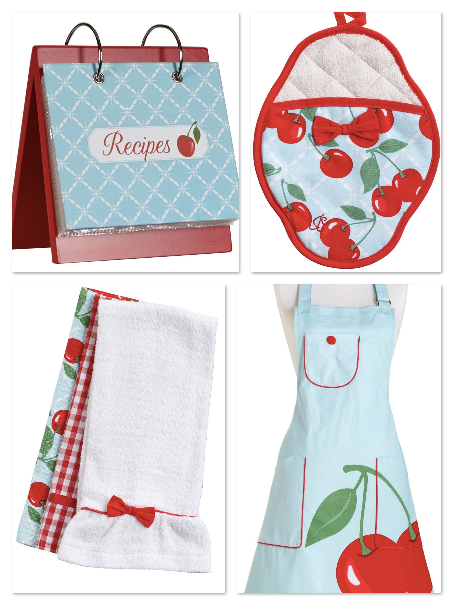 Jessie Steele Kitchen Cherry Pattern Aprons & Matching Kitchen Stuff