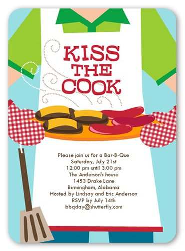 Kiss The Cook Apron Invitation