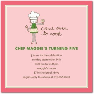 cooking birthday party apron girl invitations