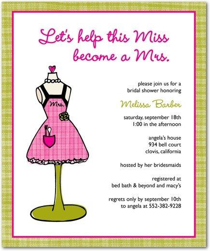 plaid apron bridal shower invitations