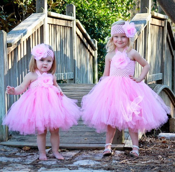 Baby Tutu Dresses with Matching Silk Flower Headband Set