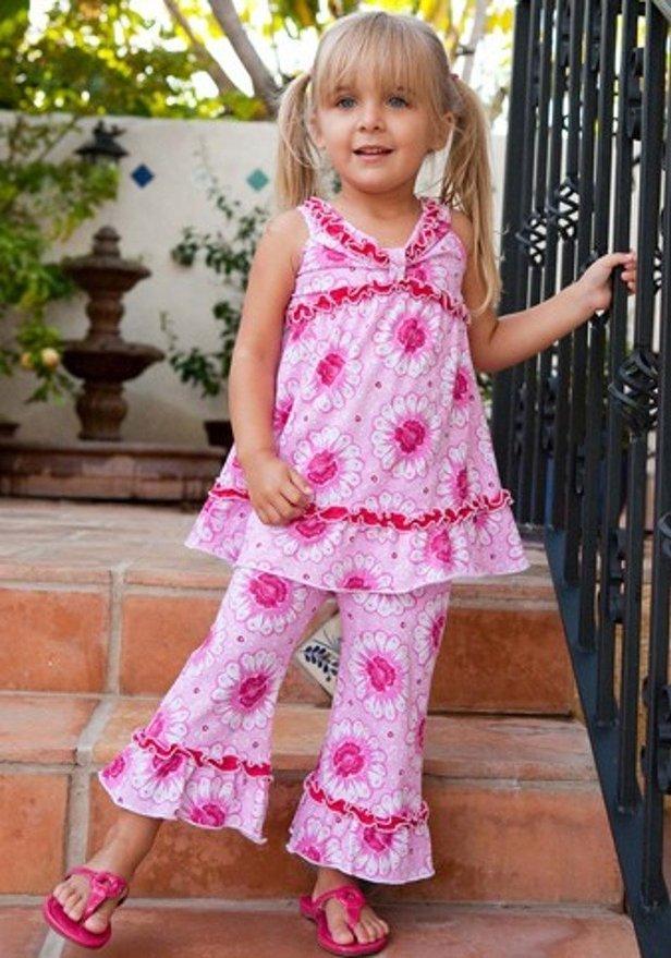 Tralala Baby Girls Marguerite Swing Pant Set Pink