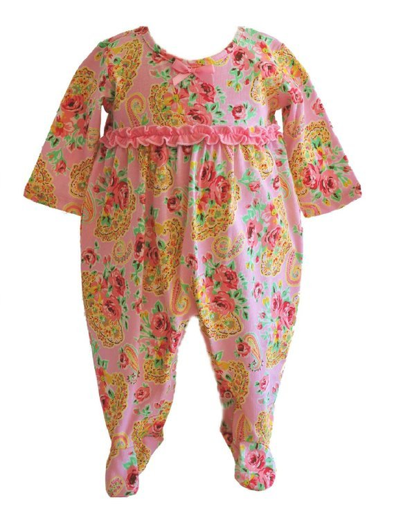 Tralala Baby Girls Princess Rose One Piece Footie