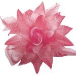 Dotted Silk Flower Clip Bow with Feathers