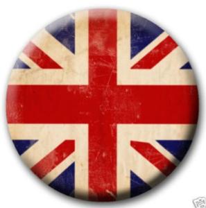 Union Jack Distressed British Flag Pinback Button