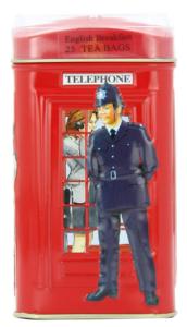 Ahmad London Telephone Box Tin, English Breakfast Tea