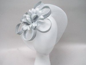 White Silver Fascinators Cocktail Hat