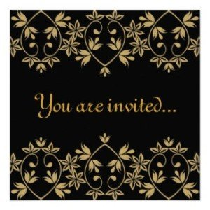 black gold damask royal wedding invitations, British Royal Wedding Party Ideas