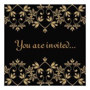 black gold damask royal wedding invitations, British Royal Wedding Party Ideas