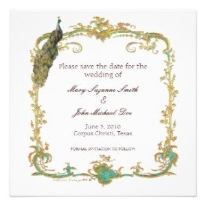 peacock wedding save the date, British Royal Wedding Party Ideas