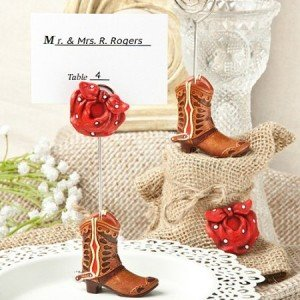 Cowboy boot place card note holders