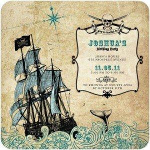 Treacherous Travels Birthday Party Pirate Invitations