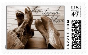 Live,Love,Laugh Western Postage Stamp