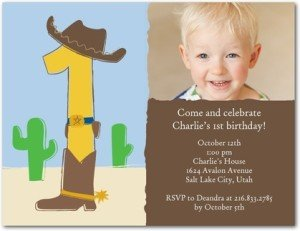 Western One Birthday Party Invitations