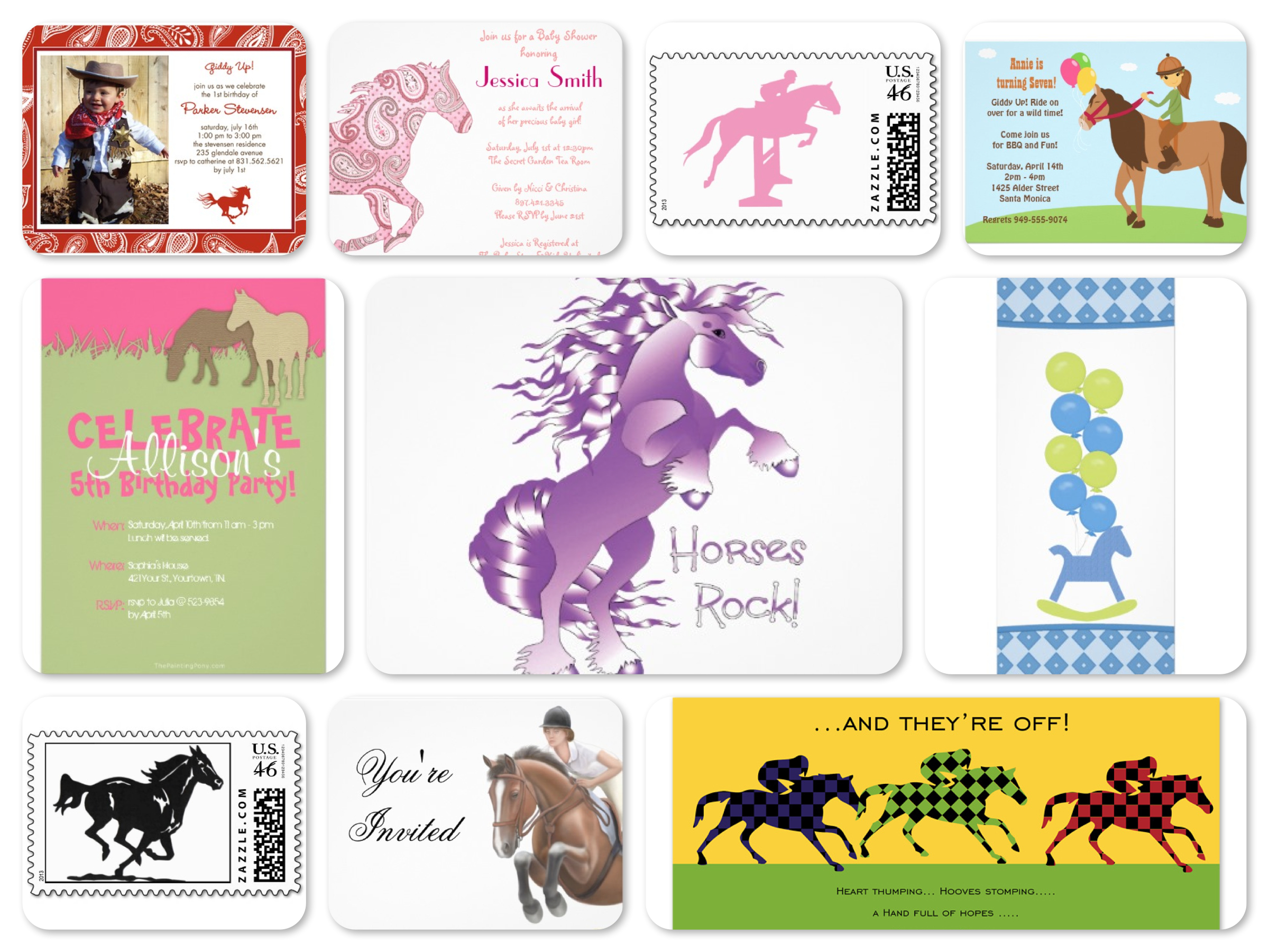 Horse Theme Invitations | Birthday Parties | Baby Showers ...