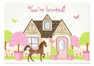 Pretty Garden Horse Birthday Party nvitations