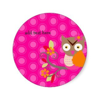 hot pink owl stickers