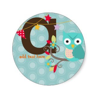 teal blue owl sticker